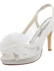 Women's Sandals Spring / Summer Heels / Platform Stretch Satin Wedding / Dress Stiletto Heel Flower Ivory / White