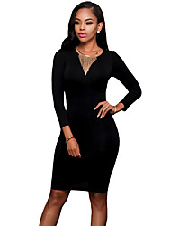Women's Black Cut out Back Long Sleeves Bodycon Dress