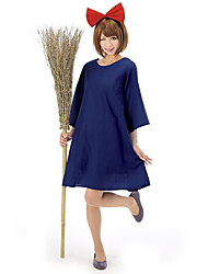 Cosplay Costumes Wizard/Witch / Cosplay Movie Cosplay Blue Solid Dress / Headwear Halloween / Carnival Female Polyester