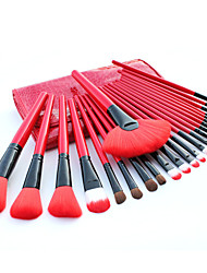 24 Makeup Brushes Set Nylon Hair Professional / Portable Wood Handle Face/Eye/Lip Red