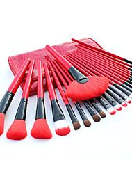 24 Makeup Brushes Set Nylon Hair Professional / Portable Wood Handle Face/Eye/Lip Red