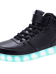 Unisex Sneakers Spring / Summer / Fall / Winter Comfort Leather Outdoor / Athletic / Casual Low Heel Couple Led Black / Red / White Walking
