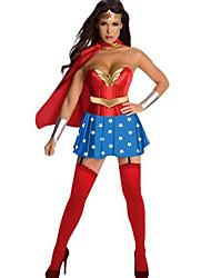 Costumes de Cosplay Superhéros Fête / Célébration Déguisement Halloween Rouge / Bleu Imprimé Robe / Gants / Cape Halloween Coton