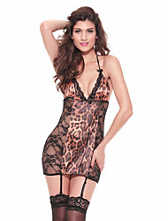 Women Babydoll Ultra Sexy Nightwear Leopard-Thin Lace Animal Print Lingeries