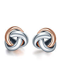 SILVERAGE 925 Sterling Silver Love Knot Rose Gold Plated Stud Earrings