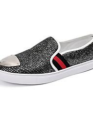 Femme-Décontracté-Noir / Argent-Talon Plat-Confort-Sneakers-Polyuréthane