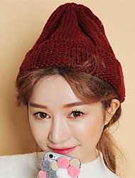Unisex Solid Color Hand-woven Tweed Cute Pointed Knit Cap Warm Wool Hat