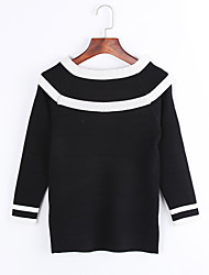 Women's Casual/Daily Street chic Regular Pullover,Striped White / Black Boat Neck Long Sleeve Fall Medium