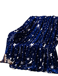 Bedtoppings Blanket Flannel Coral Fleece Queen Size 200x230cm Dark Star Prints 210GSM