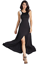 Women's Formal / Party/Cocktail / Club Sexy / Simple / Street chic Swing Dress,Color Block Round Neck Maxi Sleeveless White / Black