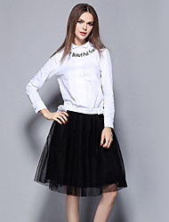 Women's Casual/Daily Street chic Skirt Suits,Letter Shirt Collar Long Sleeve White Cotton
