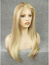 IMSTYLE 24''Heat Resistant Mix Blonde Long Natural Straight Synthetic Lace Front Wigs Can Be Curled