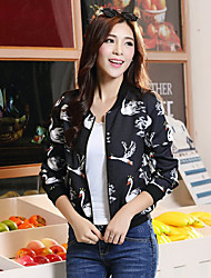 Women's Going out / Casual/Daily Simple / Active Jackets,Animal Print Round Neck Long Sleeve Spring / Fall Blue / Black Others Medium