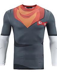 Men's Casual/Daily Simple Fall / Winter BlazerPrint Round Neck Long Sleeve Multi-color Polyester Medium