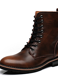 Men's Boots Riding Boots / Fashion Boots / Comfort Leather Outdoor / Casual Flat Heel Lace-upBrown / Gray