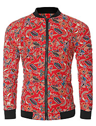 Men's Going out / Casual/Daily Simple JacketsPrint / Patchwork Stand Long Sleeve Spring / Fall   Polyester / Spandex