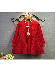 Girl's Casual/Daily Solid DressCotton Spring / Fall Red / White