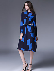 1287 Women's Going out / Casual/Daily Simple A Line DressPrint / Color Block Shirt Collar Knee-length Long Sleeve Blue
