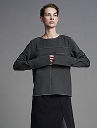 Damen Standard Hoodies-Ausgehen / Lässig/Alltäglich Einfach Solide Grau Rundhalsausschnitt Langarm Polyester Winter Mittel Mikro-elastisch