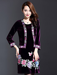 AINIER Women's Casual/Daily Chinoiserie Loose DressEmbroidered V Neck Above Knee Long Sleeve Purple Spandex