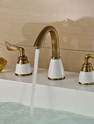 Antique Centerset Widespread with  Ceramic Valve Two Handles Three Holes for  Antique Brass  Bathroom Sink Faucet