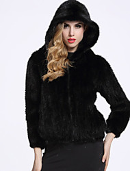 BF-Fur Style Women's Casual/Daily Sophisticated Fur CoatSolid Hooded Long Sleeve Black Others