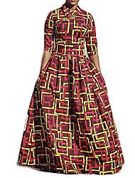 Women's Formal Vintage Fall / Winter Set SkirtPrint Shirt Collar  Length Sleeve Blue Polyester Opaque