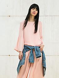 Damen Solide Street Schick Ausgehen T-shirt,Rundhalsausschnitt Alle Saisons Langarm Rosa Baumwolle / Polyester Mittel