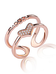 Fine 925 Silver /Rose Gold AAA Love Heart Zircon Crystal Midi Knuckle Band  Open Adjustable Ring for Women