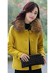 Women's Casual/Daily Simple Coat,Solid Long Sleeve Yellow Wool