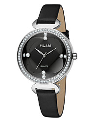VILAM Leather Strap Women Watch Crystal Diamond Ladies Casual Quartz Watches