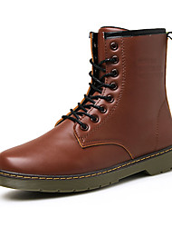Men's Boots Fall Winter Mary Jane PU Casual Work & Safety Flat Heel Lace-up Black Brown Red Other