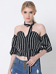 1287 Women's Going out / Casual/Daily Sexy All Seasons ShirtStriped Strapless  Length Sleeve Blue / Red / Black Cotton