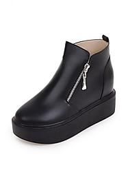 Women's Solid Pu Kitten Heels Zipper Round Closed Toe Boots