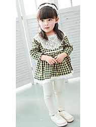 Girl's Casual/Daily Check DressCotton Spring / Fall Yellow