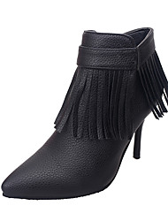 Women's Heels Fall / Winter Others Leather Wedding / Party & Evening / Dress Stiletto Heel Tassel Black / Red Others
