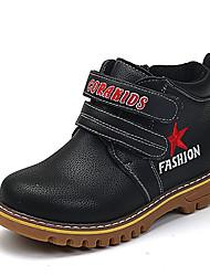 Girl's Boots Fall / Winter Comfort PU Casual Flat Heel Magic Tape Black / Yellow Walking