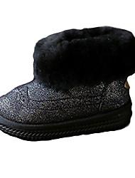 Girl's Boots Fall / Winter Comfort PU Casual Flat Heel Zipper Black / Pink Walking