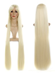 38 Inch Blonde Straight Synthetic Hair Wigs #613 Full Silky Straight with Bang Wigs for Women Good quality Heat resistant