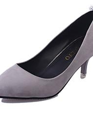 Damen-High Heels-Lässig-PU-Stöckelabsatz-Komfort-Schwarz Rot Grau