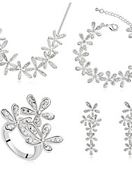 Schmuck Halsketten / Ohrringe / Ringe / Armband Schmuckset Kristall Modisch Alltag 1 Set Damen Goldfarben / Silber Hochzeitsgeschenke