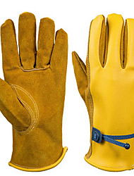 Leather Pu Oil Protection Gloves  Color Yellow