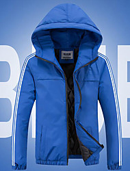 Men's Regular Padded Coat,Simple Casual/Daily Solid-Polyester Cotton Long Sleeve Hooded