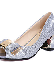 Women's Sandals Summer Comfort PU Dress Chunky Heel Sequin Silver / Gold Others