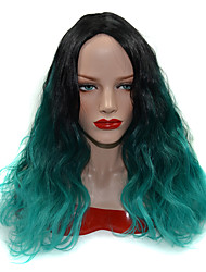 Perma-Long Medium Divided Fluffy Waves Black Graded Peacock Green Lifestyle Ombre Synthetic Wig