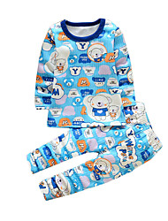 Boy's Casual/Daily Animal Print Clothing Set,Cotton Winter Blue