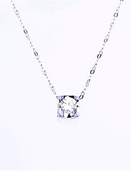 Women's Necklace AAA Cubic Zirconia Pendant Necklaces Jewelry Wedding / Party /  Fashion Sterling Silver