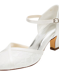 Women's Heels Spring / Fall  Stretch Satin Wedding / Dress Chunky Heel  Ivory