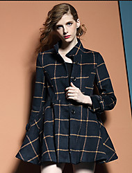 Women's Casual/Daily Simple Coat,Plaid Long Sleeve Blue Wool
