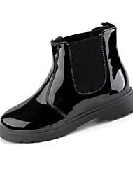 Mujer-Tacón Bajo-Confort-Botas-Vestido / Casual-PU-Negro / Blanco
